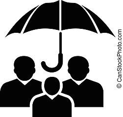 pessoas, proteção, ícone, simples, pretas, estilo