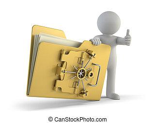 pessoas, -, proteção, arquivo, pequeno, 3d