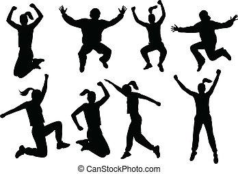 pessoas pulando, silhuetas