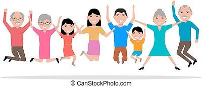 pessoas pulando, vetorial, sorrindo, caricatura, feliz