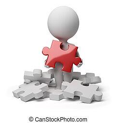 pessoas, quebra-cabeça, -, pequeno, encontrado, 3d