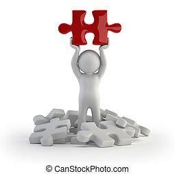 pessoas, quebra-cabeça, -, pequeno, vermelho, 3d