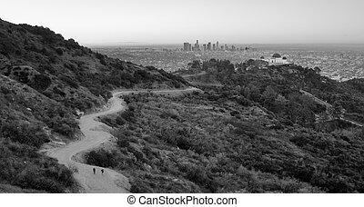 pessoas, rastro, dante's, vista, hollywood, colinas, los angeles, califórnia