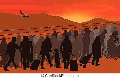 pessoas, refugees, silhuetas, fio, atrás de, farpado
