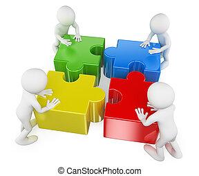 pessoas., resolvendo, trabalho equipe, branca, quebra-cabeça, 3d
