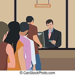 pessoas, retirando dinheiro, em, banco
