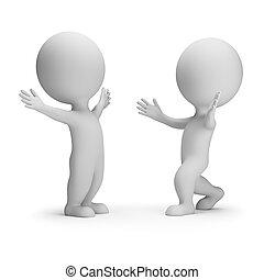 pessoas, reunião, -, dois, pequeno, amigos, 3d