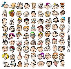 pessoas, rosto, expressão, doodle, caricatura, ícones,...