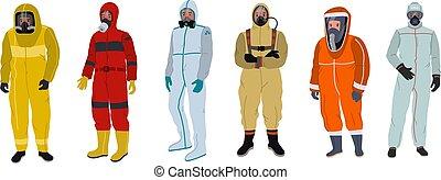 pessoas, roupa protetora