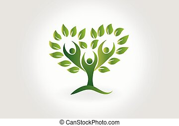 pessoas, símbolo, árvore, trabalho equipe, folheia, logotipo