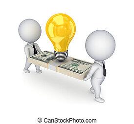 pessoas, símbolo, dólar, idéia, pequeno, pack., 3d