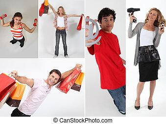 pessoas, segurando, bolsas para compras