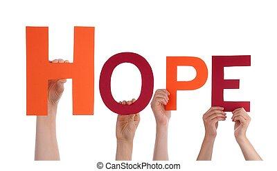 pessoas, segurando, esperança