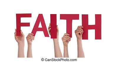 pessoas, segurando, fé