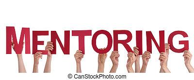 pessoas, segurando, mentoring