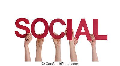 pessoas, segurando,  social