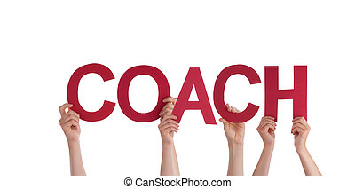 pessoas, segurando, treinador