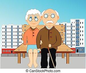 pessoas, sentar, banco, idoso, cidade
