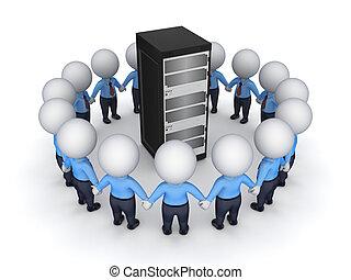pessoas, server., ao redor, 3d, pequeno