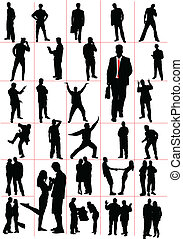 pessoas, silhouettes., men., women., pa