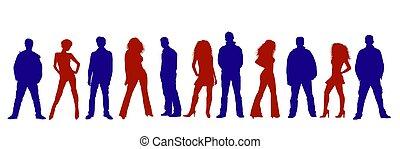 pessoas, silhuetas, colorido