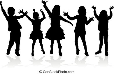 pessoas, silhuetas, dançar, children., conceptual.