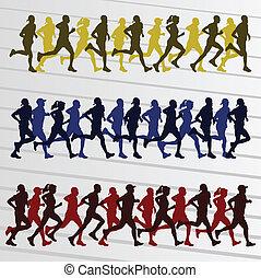 pessoas, silhuetas, vetorial, maratona, fundo, corredores