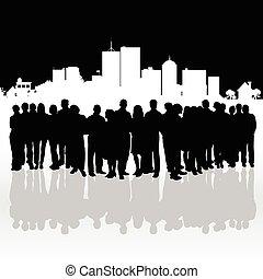 pessoas, silueta, frente, de, predios, ilustração