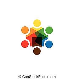 pessoas, sociedade, -, junto, sinal, vetorial, unidade, ícone
