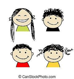 pessoas sorridentes, desenho, seu, ícones