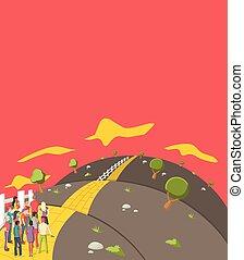 pessoas, tentando, cruzar, um, estrada amarela tijolo, ligado, a, colina