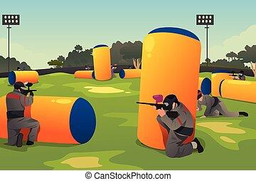 pessoas, tocando, paintball