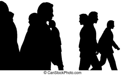pessoas, torcida, movimento, divergently, vista lateral
