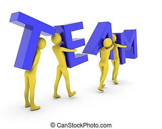 pessoas, trabalhando, carregar, letras, azul, junto, equipe