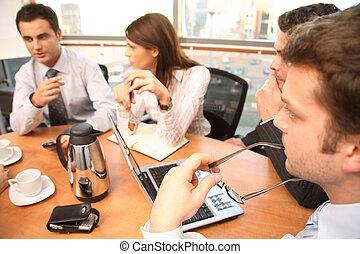 pessoas, trabalhando, grupo, negócio, brainstorm.