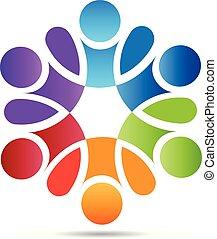 pessoas, trabalho equipe, conceito, de, ajudando, logotipo, vetorial