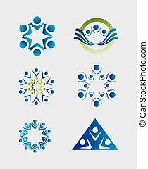 pessoas, trabalho equipe, logotipo, ícone, grupo
