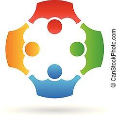 pessoas, trabalho equipe, vetorial, grupo, logotipo