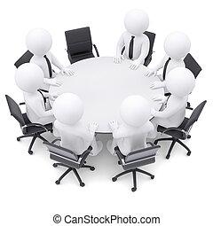 pessoas, um, cadeira, tabela, redondo, vazio,  3D