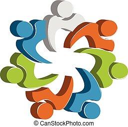 pessoas, unidade, vetorial, trabalho equipe, modelo, logotipo, desenho, ícone