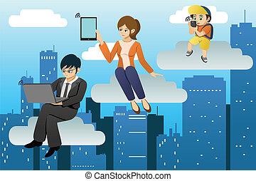 pessoas, usando, diferente, móvel, dispositivo, em, nuvens,...
