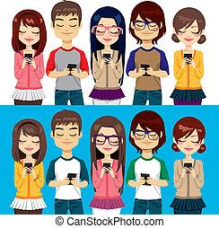 pessoas, usando, telefones móveis