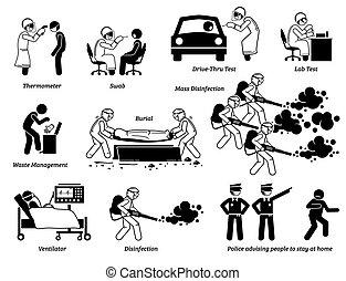 pessoas, vírus, testar, cliparts., trabalhadores, verificar, médico, infecção
