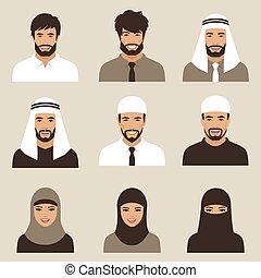 pessoas, vetorial, árabe, muçulmano, avatars