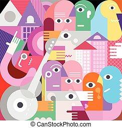 pessoas, vetorial, grupo, ilustração, grande
