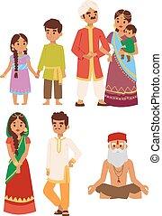 pessoas., vetorial, indianas, ilustração