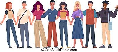 pessoas, vetorial, multiethnic, jovem, junto, internacional...