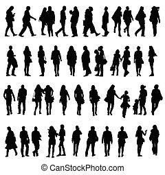 pessoas, vetorial, silueta, ilustração