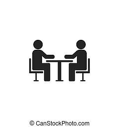 pessoas, vetorial, tabela, conference., dois, icon., ícone