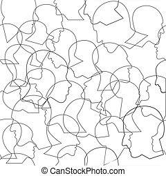 pessoas, vetorial, torcida, perfil, padrão, seamless, diferente, heads., experiência., muitos